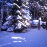 Teren przed domem zimą